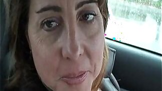 Sexy MILF is so horny she plays with pussy in public