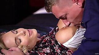 Erotic blonde wife Florane Russell moans while riding his large dick