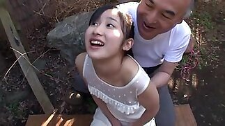 Japanese Teen with Old Man and Many Guy Bukkake