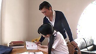 Japanese college cutie lures her tutor and sucks his delicious cock in 69 pose